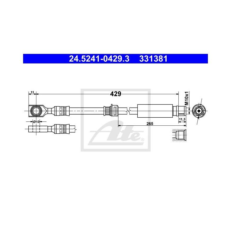 ATE Bremsschlauch vorne 24.5241-0429.3 im Autoteile Preiswert Shop kaufen und sparen!