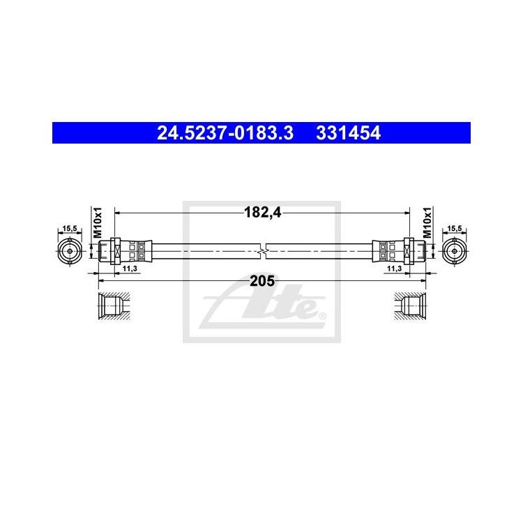 ATE Bremsschlauch hinten 24.5237-0183.3 im Autoteile Preiswert Shop kaufen und sparen!