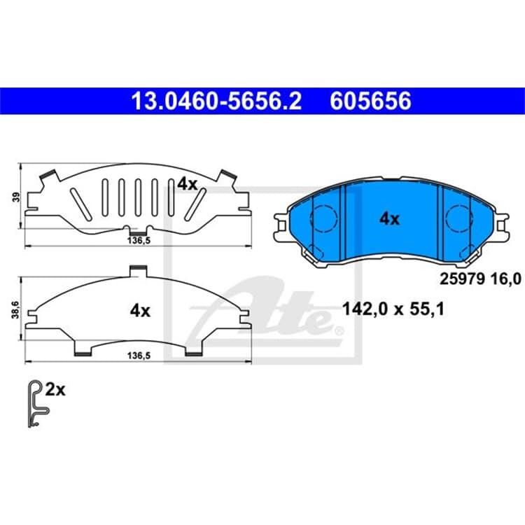 ATE Bremsbeläge vorne 13.0460-5656.2 im Autoteile Preiswert Shop kaufen und sparen!