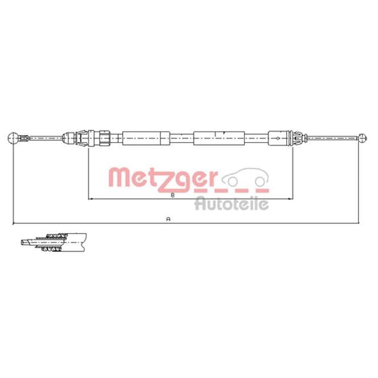 Metzger Bremsseil hinten links 11.6807 online günstig Autoteile kaufen
