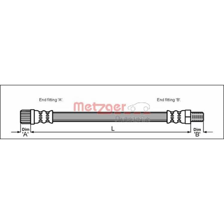 Metzger Bremsschlauch vorne 4111162 im Autoteile Preiswert Shop kaufen und sparen!