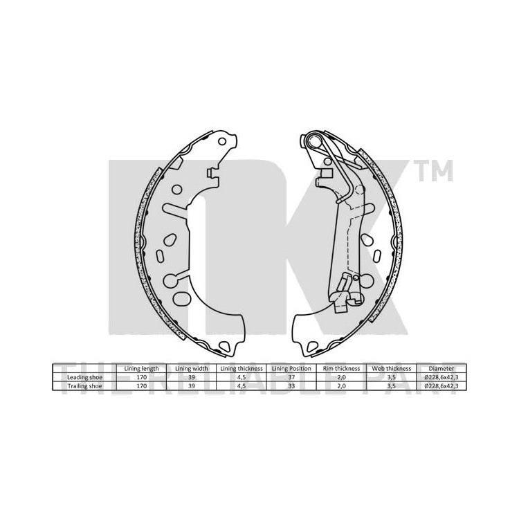 NK Bremsbacken hinten Fiat Linea Punto Opel Adam Corsa D E