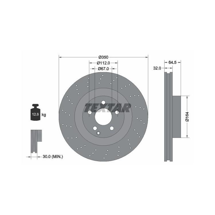 Textar Bremsscheiben 350mm + Bremsbeläge vorne Mercedes