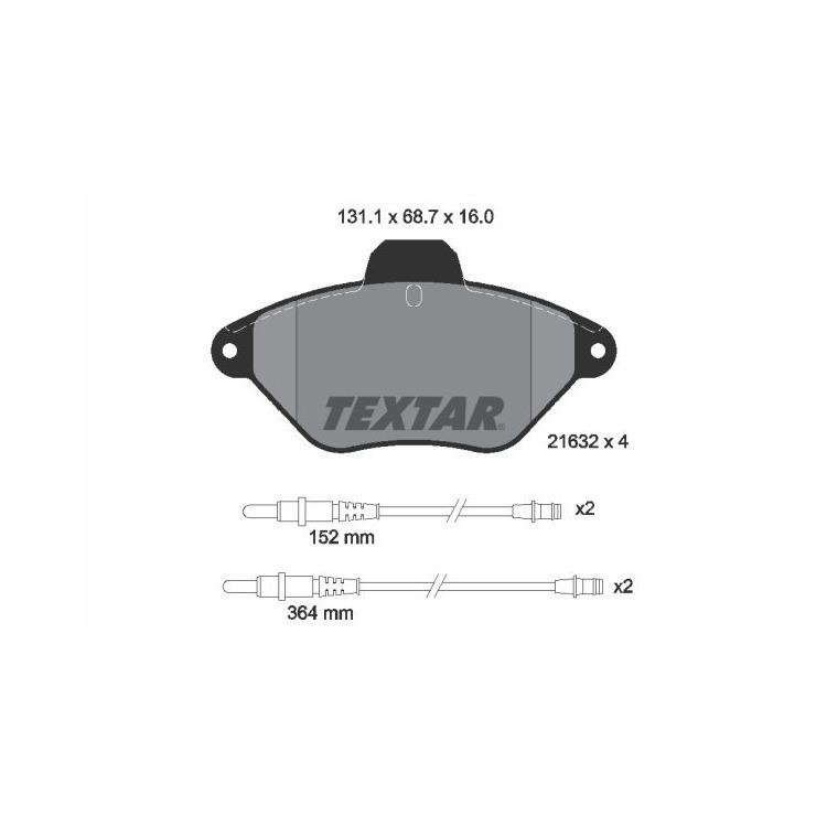 Textar Bremsbeläge vorne Citroen Xantia + Break 1,8-2,0+D mit Sensor Bendix
