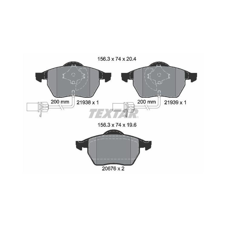 Textar Bremsbeläge vorne Audi A4 A6 VW Passat 1,6-3,2 mit Sensor oval Teves