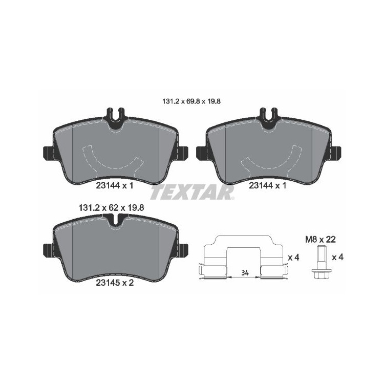 Textar Bremsbeläge vorne Mercedes C-Klasse CLC CLK + Cabrio SLK ohne Sensor bei Autoteile Preiswert