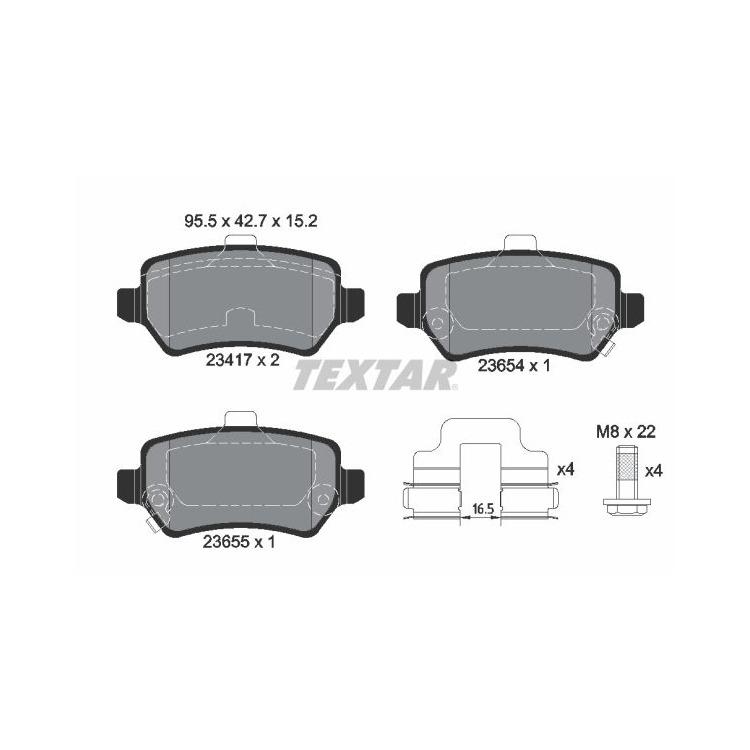 VTEC DTEC 4WD Textar Bremsbeläge hinten Honda CR-V III IV 1,6-2,4