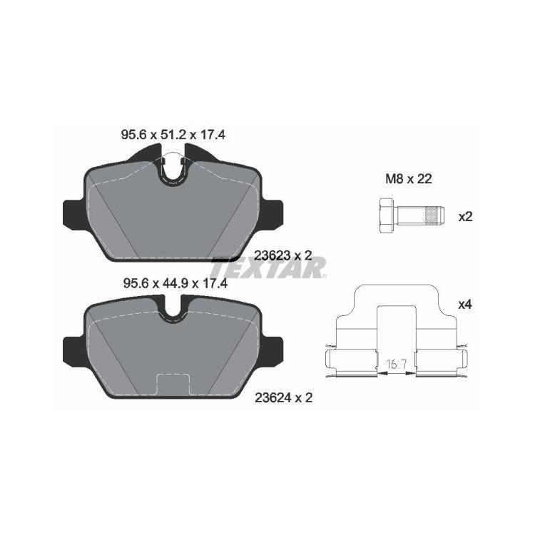 Textar Bremsscheiben + Bremsbeläge hinten BMW E81 118 120 E90 316 ohne M-Technik