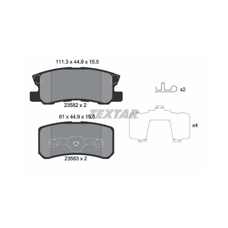Textar Bremsscheiben + Bremsbeläge hinten Citroen Mitsubishi Peugeot