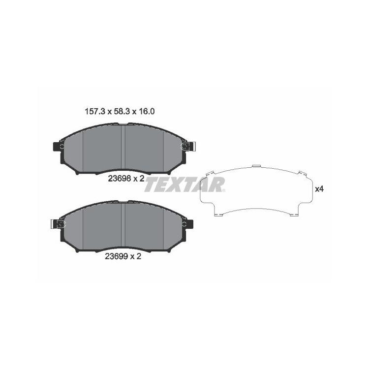 """Textar Bremsscheiben + Bremsbeläge vorne Nissan Navara Pathfinder 2,5 3,0 4,0 mit 17"""" Felge"""