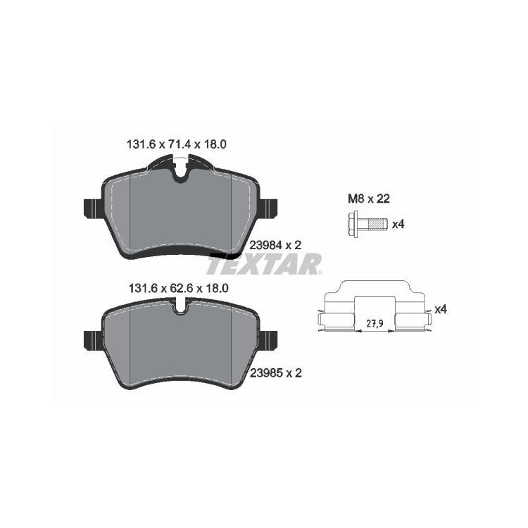 Textar Bremsscheiben + Bremsbeläge vorne Mini R50 R55 Clubman Roadster ab 2006