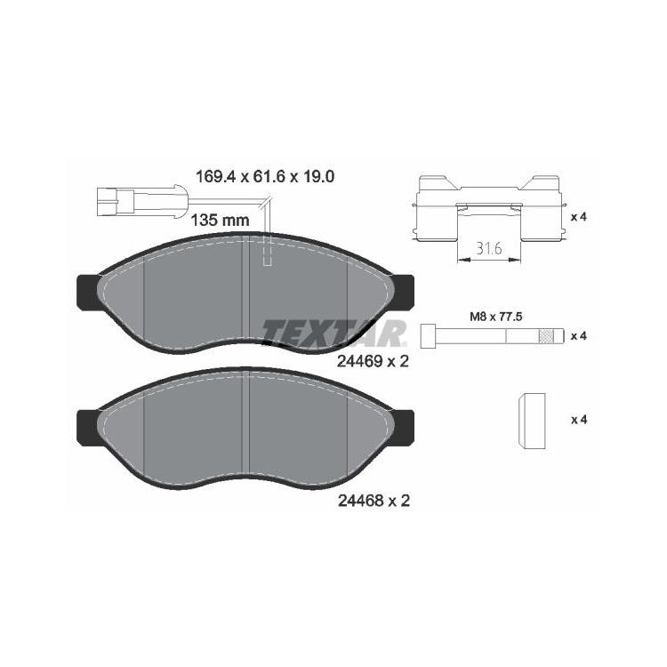 Textar Bremsbeläge + Sensor vorne 2446901 im Autoteile Preiswert Shop kaufen und sparen!