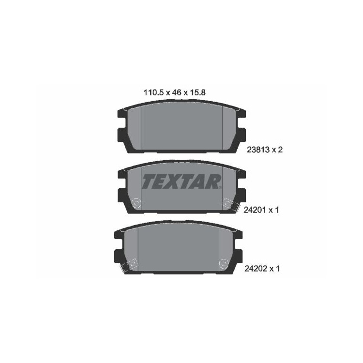 Textar Bremsbeläge hinten Hyundai Terracan 2,5-3,5 + CRDi V6 TD 4WD Mando bei Autoteile Preiswert
