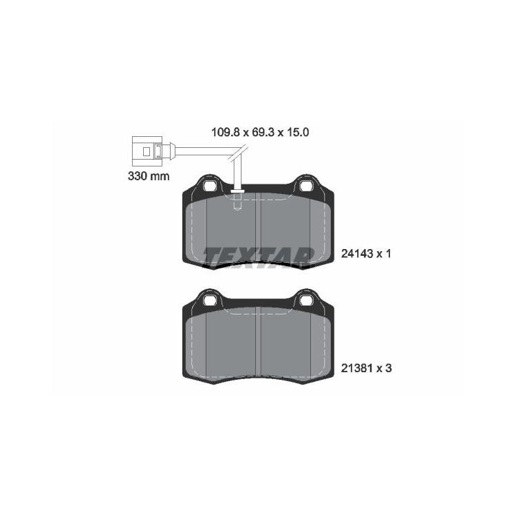 Textar Bremsbeläge vorne Seat Leon 1,8 T Cupra R mit Verschl.-Sensor Brembo