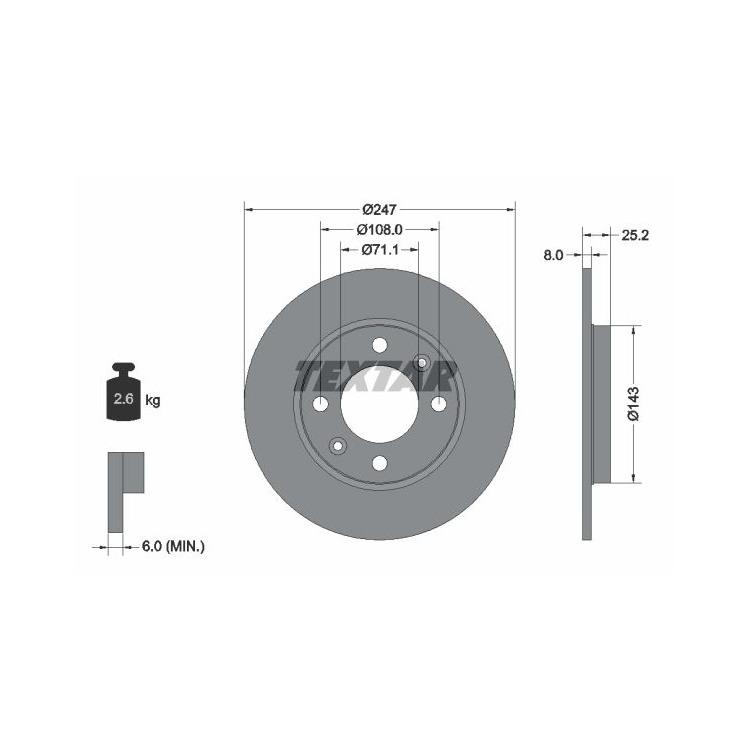 2 Textar Bremsscheiben 247mm hinten 92055003 online günstig Autoteile kaufen