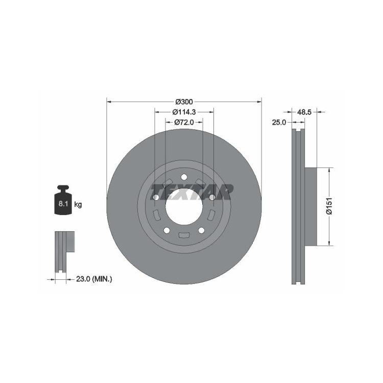 2 Textar Bremsscheiben 300mm vorne Mazda 3 5
