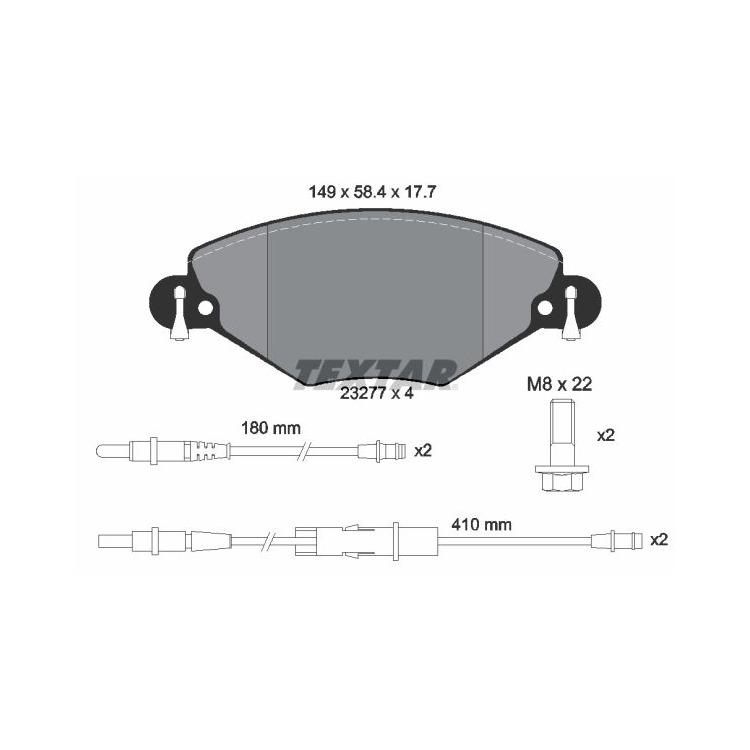 Textar Bremsbeläge vorne Citroen C5 I II 1,6-2,0 + HDi 16V mit Sensor Bosch