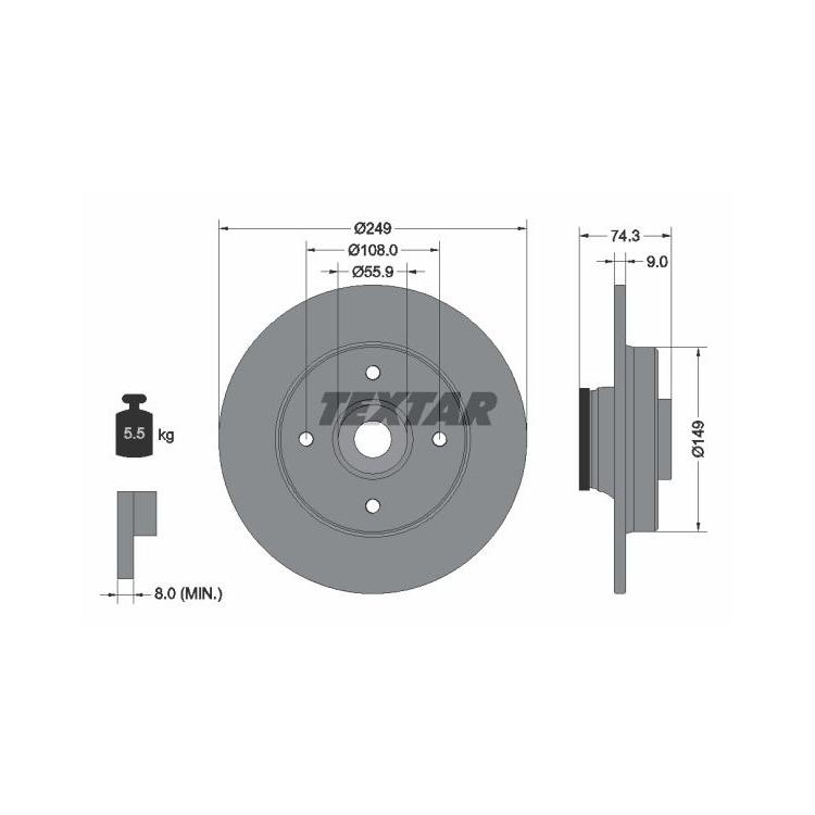 mit ABS Ring + Radlager Bremsensatz Hinten für CITROEN C4 DS4 PEUGEOT 308