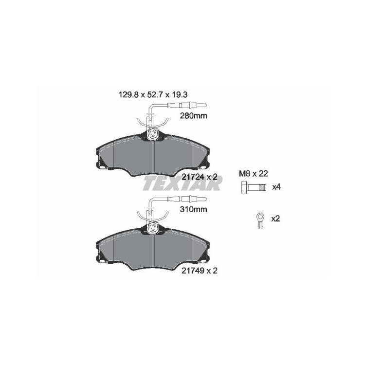 Textar Bremsbeläge vorne Peugeot 406 +Break 1,6-1,9 mit Sensor Lucas-Bremse