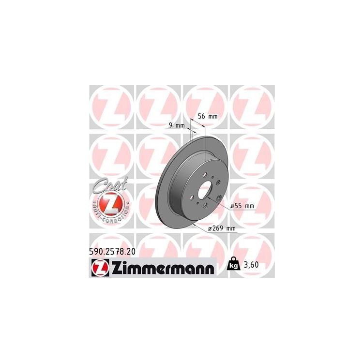 Zimmermann Bremsscheiben + Bremsbeläge hinten Toyota Corolla E12 Yaris + Verso
