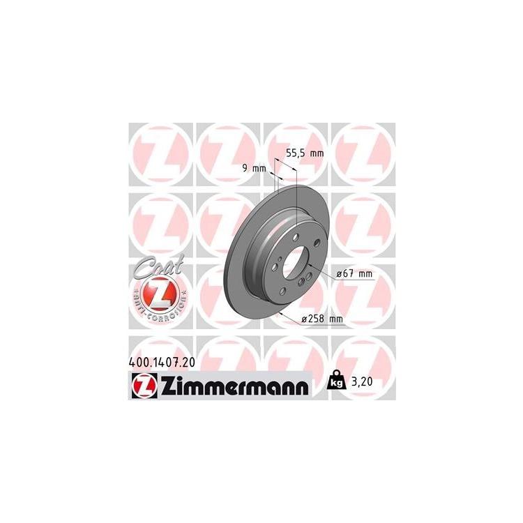 Zimmermann Bremsscheiben + Bremsbeläge hinten Mercedes W124 E 200-300