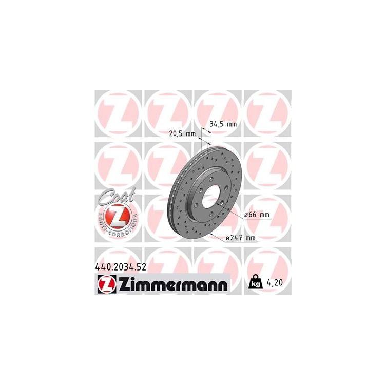 1 Zimmermann Sportbremsscheibe 440.2034.52 440.2034.52 im Autoteile Preiswert Shop kaufen und sparen!