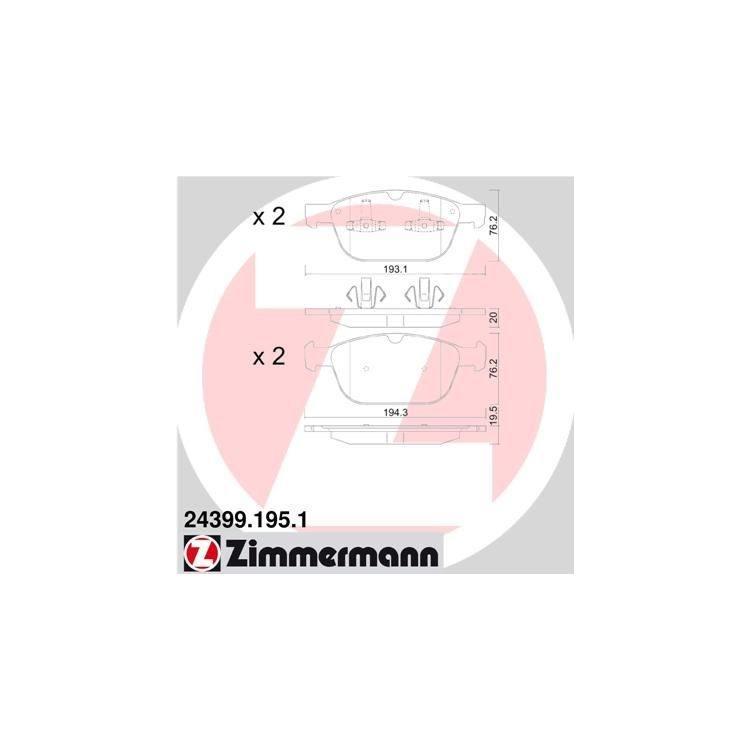 Zimmermann Bremsbeläge vorne 24399.195.1 online günstig Autoteile kaufen
