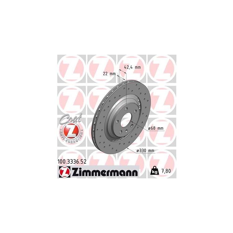 Zimmermann Sportbremsscheiben + Bremsbeläge hinten Audi A6 Allroad für PR. Nr. 1KW