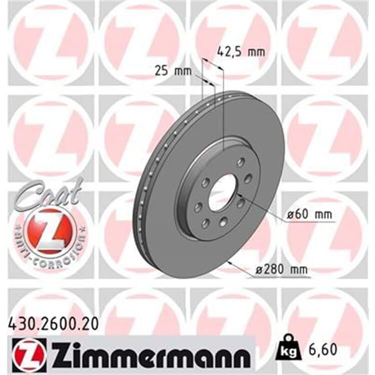 Zimmermann Bremsscheiben + Bremsbeläge vorne Opel Combo Meriva