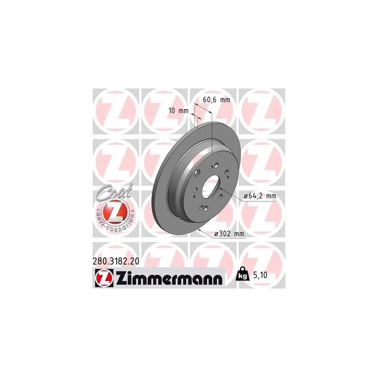 Zimmermann Bremsscheiben + Bremsbeläge hinten Honda CR-V ab 2007