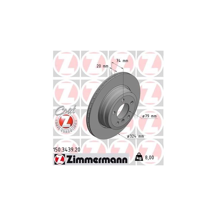 Zimmermann Bremsscheiben + Bremsbeläge hinten 150.3439.20 23447 online günstig Autoteile kaufen
