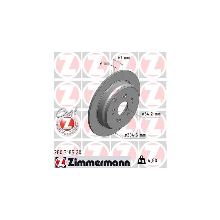 Zimmermann Bremsscheiben + Bremsbeläge hinten Honda CR-V CRV 2,0