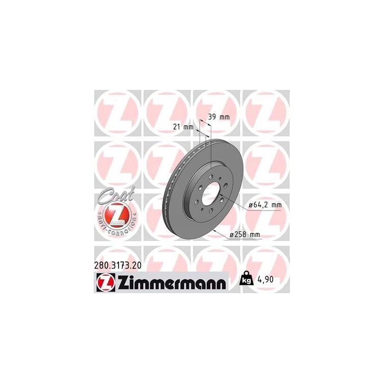 Zimmermann Bremsscheiben + Bremsbeläge vorne 280.3173.20 21697 online günstig Autoteile kaufen