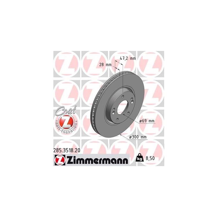 Zimmermann Bremsscheiben + Bremsbeläge vorne Kia Carens 4 1,6-2,0 + GDi CRDi