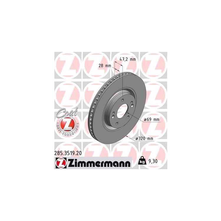 Zimmermann Bremsscheiben + Bremsbeläge vorne Hyundai i40 + CW 1,6 1,7 2,0