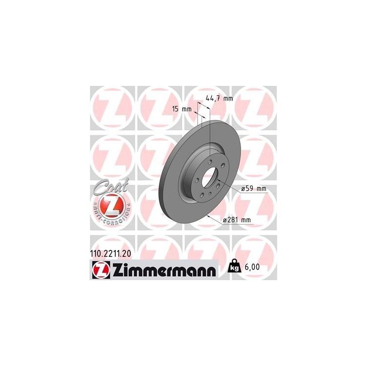 Zimmermann Bremsscheiben + Bremsbeläge vorne 110.2211.00 24067 online günstig Autoteile kaufen