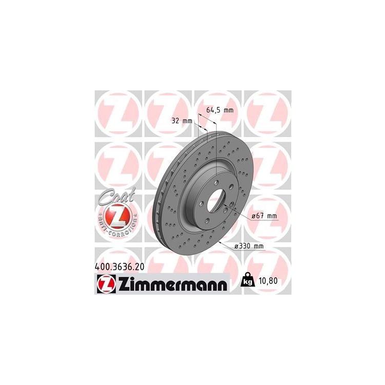 Zimmermann Bremsscheiben + Bremsbeläge VA+HA 400.3636.20 3622 online günstig Autoteile kaufen