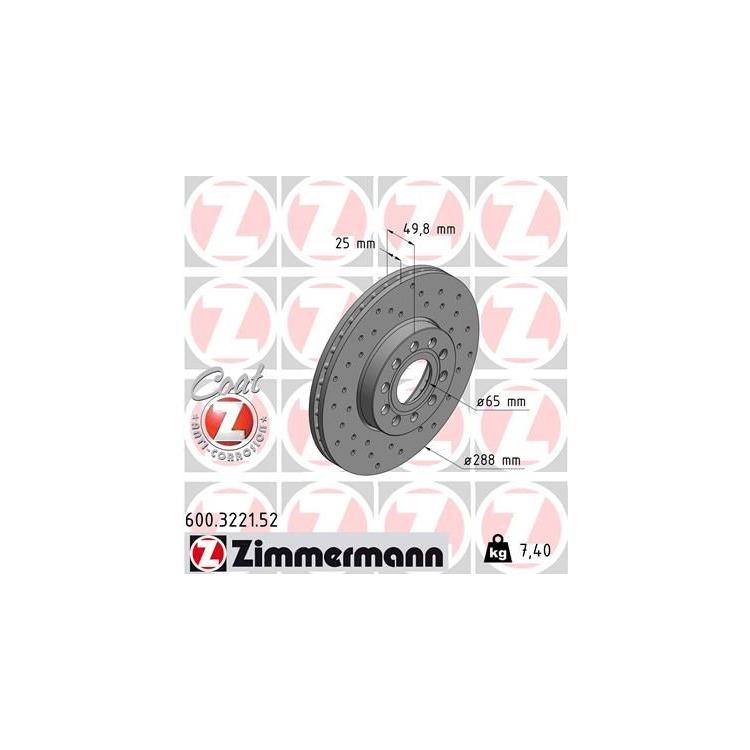 Zimmermann Sportbremsscheiben + Bremsbeläge vorne Audi Seat Skoda VW für 288mm