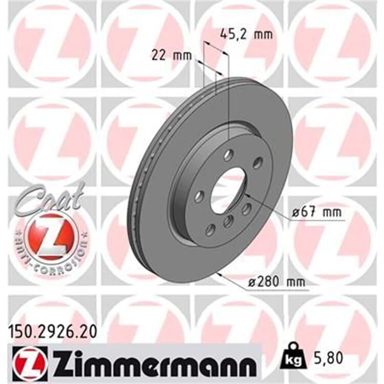 Zimmermann Bremsscheiben + Bremsbeläge vorne BMW Active Tourer F45 Mini F55 F56
