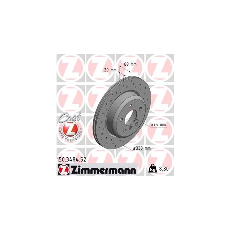 Zimmermann Sport-Bremsscheiben + Bremsbeläge VA+HA BMW 5 F10 F18 + Touring F11 + xDrive