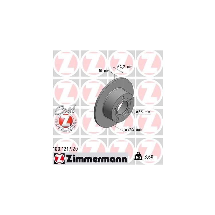 Zimmermann Bremsscheiben + Bremsbeläge hinten 100.1217.20 20961 online günstig Autoteile kaufen