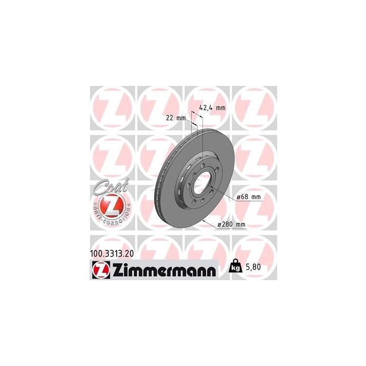 Zimmermann Bremsscheiben + Bremsbeläge hinten Audi A8 Typ 4E