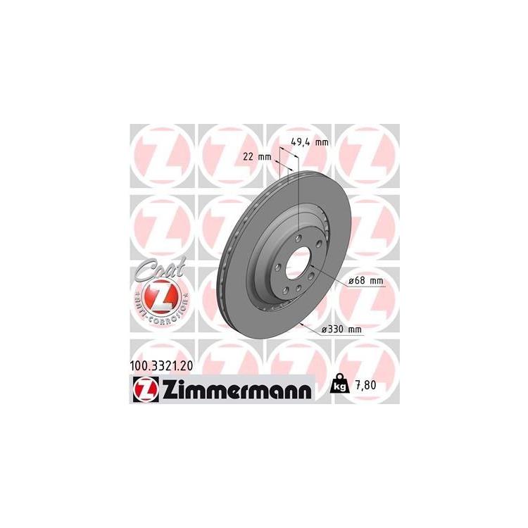 Zimmermann  Bremsscheiben + Bremsbeläge hinten Audi A6 + Avant 2004-2011