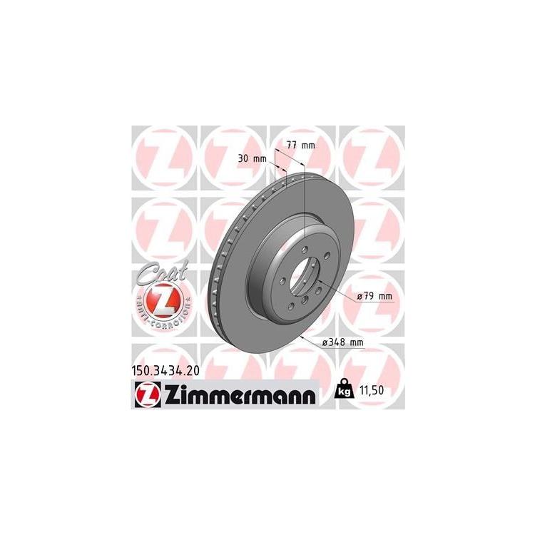 Zimmermann Bremsscheiben + Bremsbeläge vorne 150.3434.20 23312 online günstig Autoteile kaufen