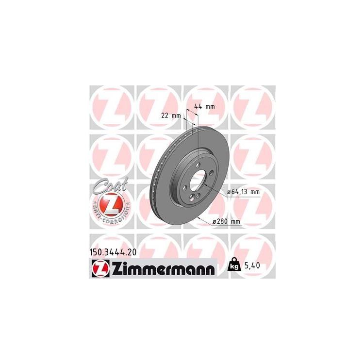 Zimmermann Bremsscheiben + Bremsbeläge VA+HA Mini R56 + Cabriolet R57 Clubman R55 One Cooper D