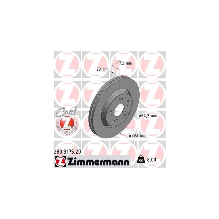 Zimmermann Bremsscheiben + Bremsbeläge vorne Honda CR-V 1,6-2,4