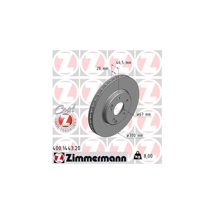 Zimmermann Bremsscheiben + Bremsbeläge vorne 400.1443.20 1437.20 online günstig Autoteile kaufen