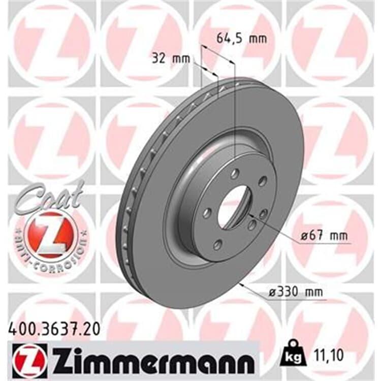 Zimmermann Bremsscheiben + Bremsbeläge vorne 400.3637.20 23743 online günstig Autoteile kaufen