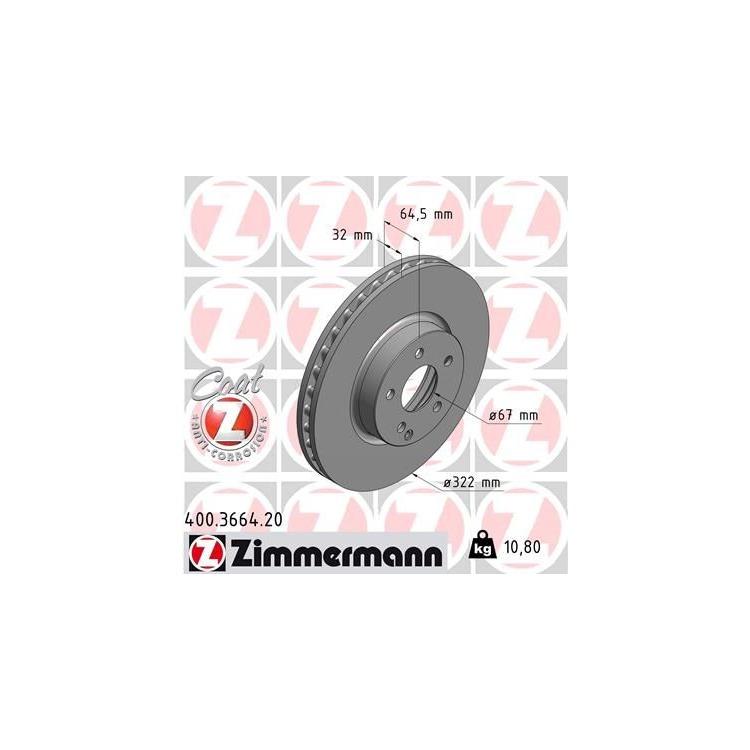 Zimmermann Bremsscheiben + Bremsbeläge vorne Mercedes C+E-Klasse W204 W212 SLK