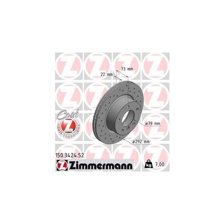 1 Zimmermann Sportbremsscheibe 150.3424.52 150.3424.52 im Autoteile Preiswert Shop kaufen und sparen!
